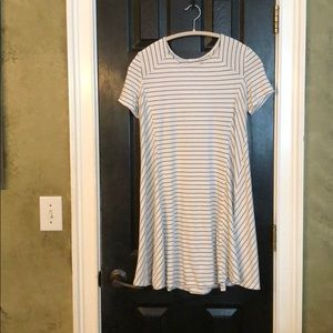 Lush black and white striped cotton dress